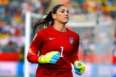 EDMONTON, AB - JUNE 22:  Goalkeeper Hope Solo #1 of the United States looks on in the second half against Colombia in the FIFA Women's World Cup 2015 Round of 16 match at Commonwealth Stadium on June 22, 2015 in Edmonton, Canada.  (Photo by Kevin C. Cox/Getty Images)