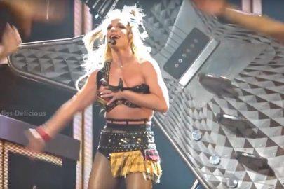 Britney Spears quase perde o sutiã durante show em Las Vegas