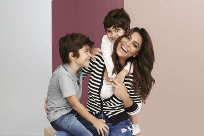 Para a Hering, Juliana Paes aparece pela 1ª vez ao lado dos filhos em campanha