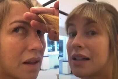 Luana Piovani corta franja ao vivo e viraliza na internet
