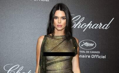 Kendall Jenner causa ao usar vestido 100% transparente em tapete vermelho