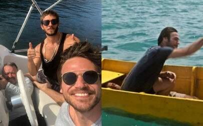"""Chay e Emílio Dantas fazem piada com erro de gravação no barco em """"Segundo Sol"""""""