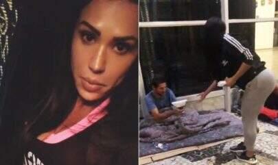 Na madrugada, Gracyanne Barbosa entrega comida para moradores de rua