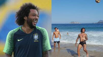Após Copa do Mundo, Marcelo surpreende e joga bola com a galera na praia
