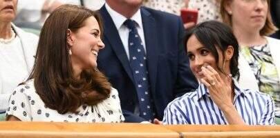Sem os maridos, Meghan Markle e Kate Middleton assistem juntas a torneio de tênis