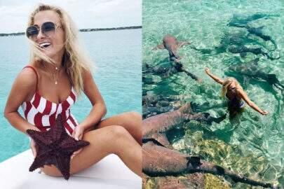 Modelo é atacada por tubarão enquanto posava para foto