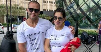 Em Orlando, Bella Falconi deixa a maternidade com a filha recém-nascida