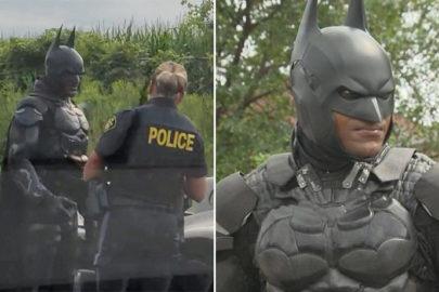 Homem fantasiado de Batman é parado pela polícia por motivo inusitado