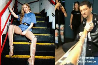 Luísa Sonza sofre para tirar botas de plástico e vídeo viraliza