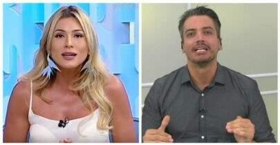 Léo Dias e Lívia Andrade batem boca ao vivo por causa da irmã de Neymar, Rafaella Santos