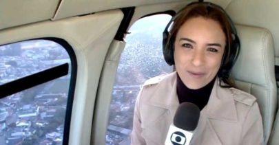 Repórter da Globo se desespera após porta de helicóptero abrir durante voo