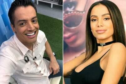 """Leo Dias divulga capa do livro de Anitta e cantora reage: """"Cadê minha cara? É só minha bunda?"""""""