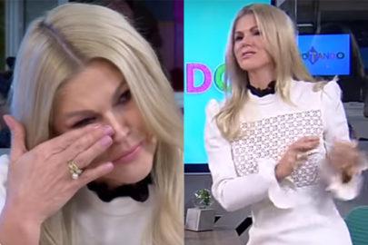 """Val Marchiori chora e abandona programa ao vivo ao ser chamada de """"prostituta"""" por ex"""