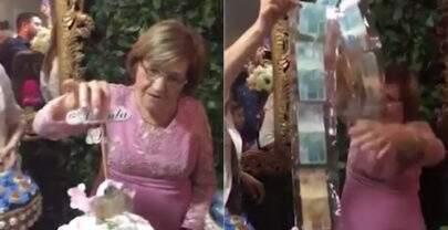 Avó ganha bolo de aniversário cheio de dinheiro e viraliza nas redes sociais