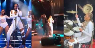 Ludmilla toca bateria e dança com sua mãe durante show em Portugal