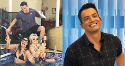 """Leo Dias curte piscina acompanhado de Mara Maravilha e Fontenelle: """"Por que choras, Lívia?"""""""