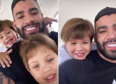 Gusttavo Lima posa com filhos pela primeira vez após separação de Andressa Suita