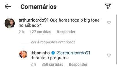 Resposta de Boninho no Instagram