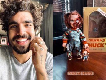 """Caio Castro compra bonecos 'Chucky' após perder medo: """"Novo e melhorado"""""""