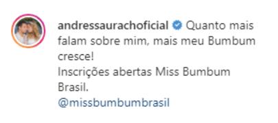"""Na imagem, o comentário da Andressa diz: """"Quanto mais falam sobre mim, mais meu Bumbum cresce! Inscrições abertas Miss Bumbum Brasil."""""""