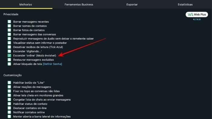 Plataforma WA Web Plus, Whatsapp invisível