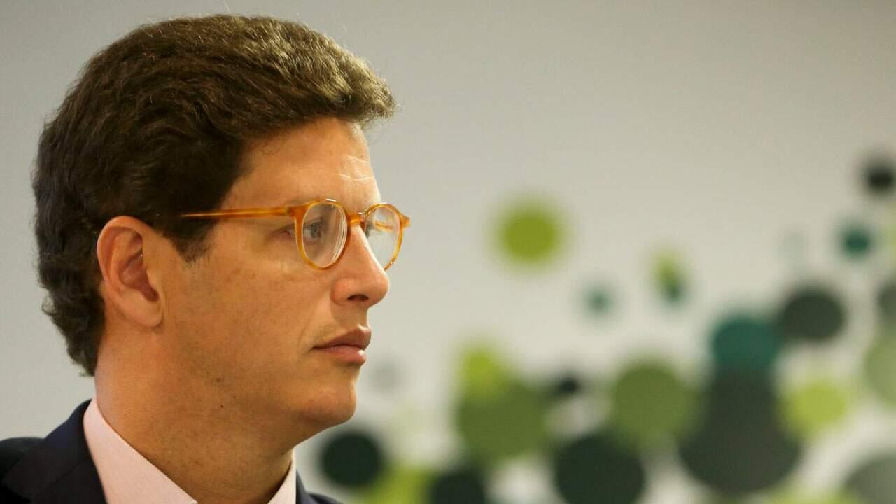 O ministro do Meio Ambiente, Ricardo Salles, em coletiva de imprensa