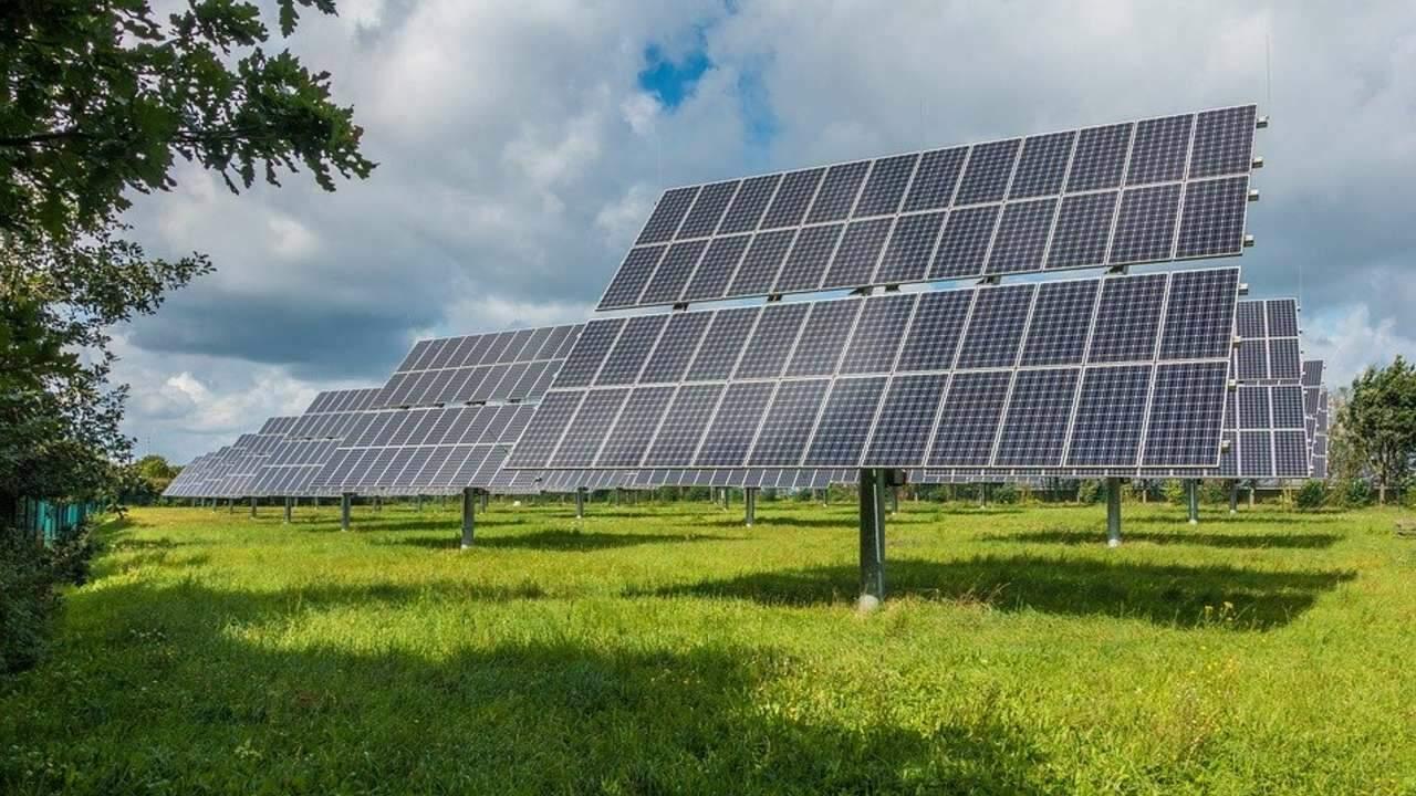 Painéis solares na grama