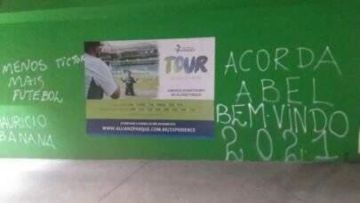Após derrota para o São Paulo, os muros do Allianz Parque são pichados