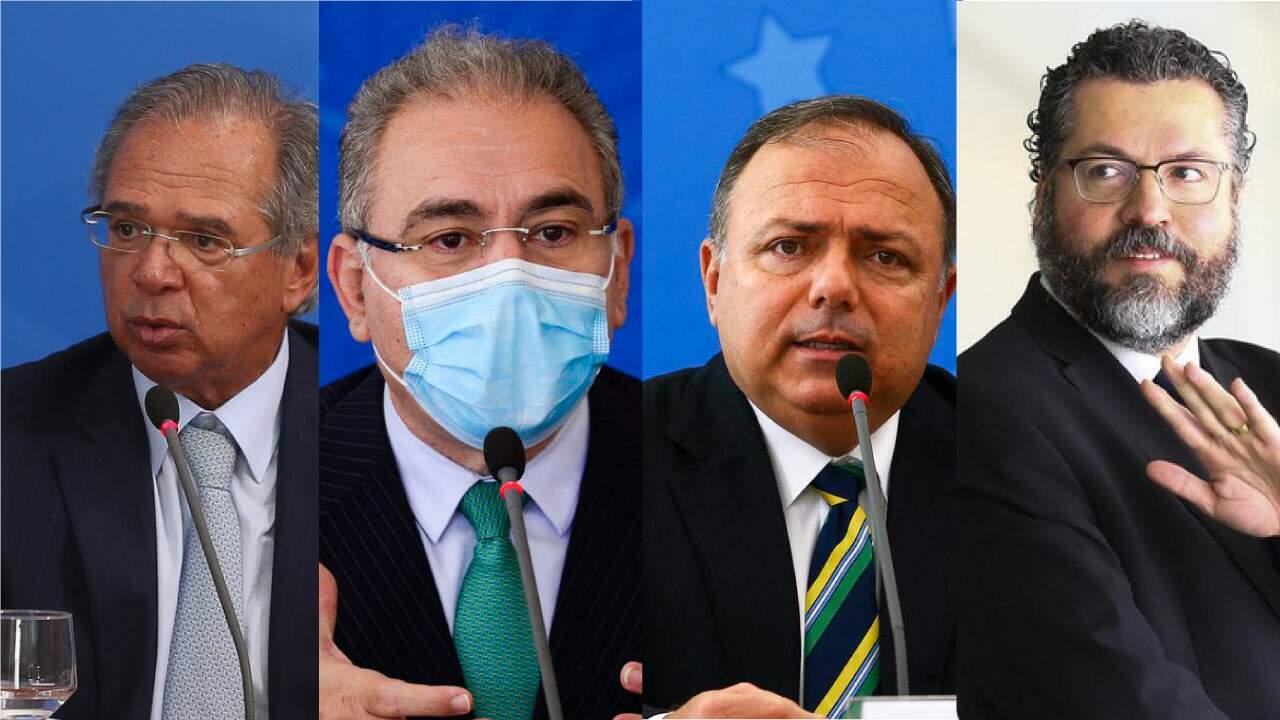 Na foto, o Ministro da Economia, Paulo Guedes, atual Ministro da Saúde, Marcelo Queiroga,Ex-ministro da Saúde, Eduardo Pazuello e Ex-ministro das Relações Exteriores, Ernesto Araújo