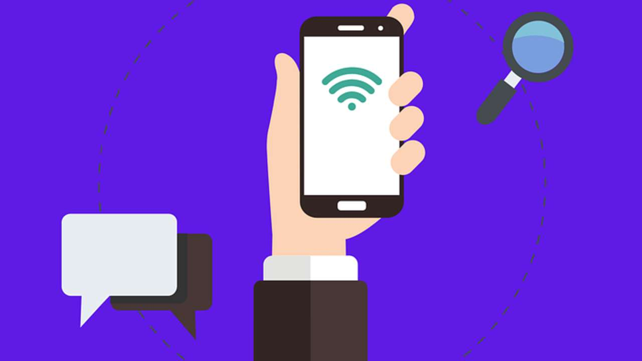 Ilustração do celular com simbolo do wifi