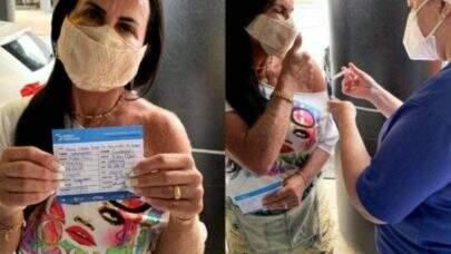 Aos 61 anos, Gretchen toma segunda dose da vacina contra a Covid-19 em Belém
