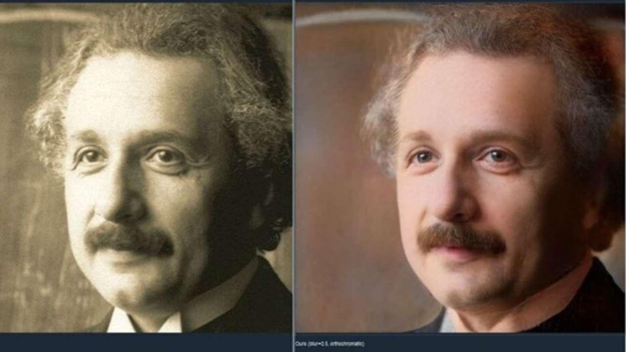 À esquerda, uma foto original de Albert Einstein; à direita, a imagem colorida