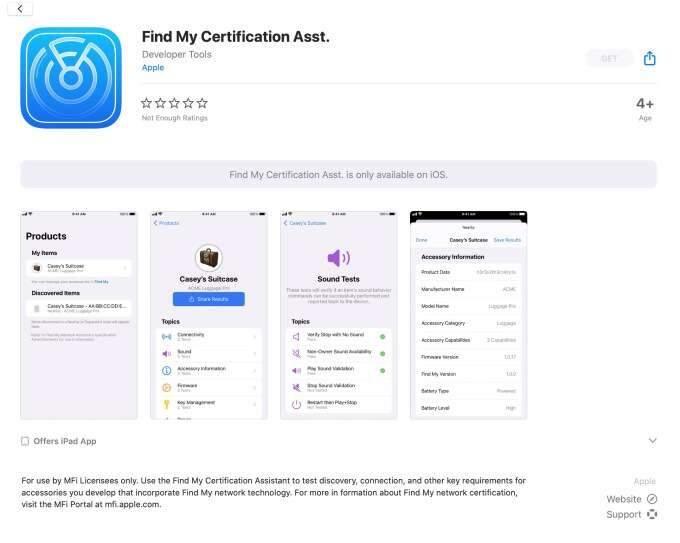 Novo app da Apple Find CertificationMy