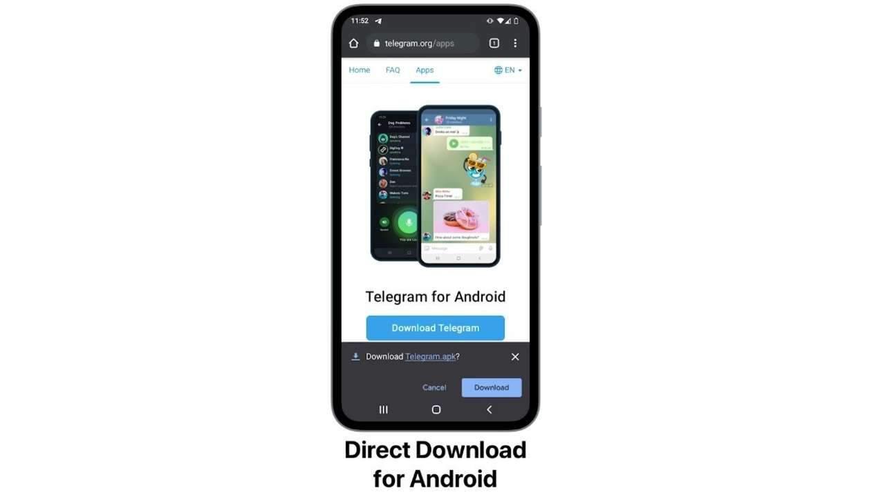 celular com o telegram aberto