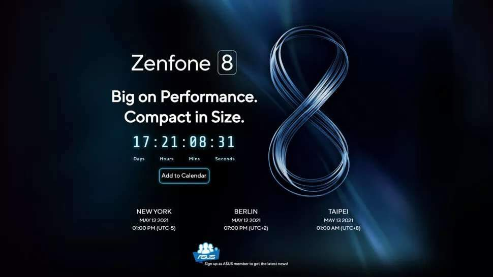 Zenfone 8 será lançado em 8 de maiom
