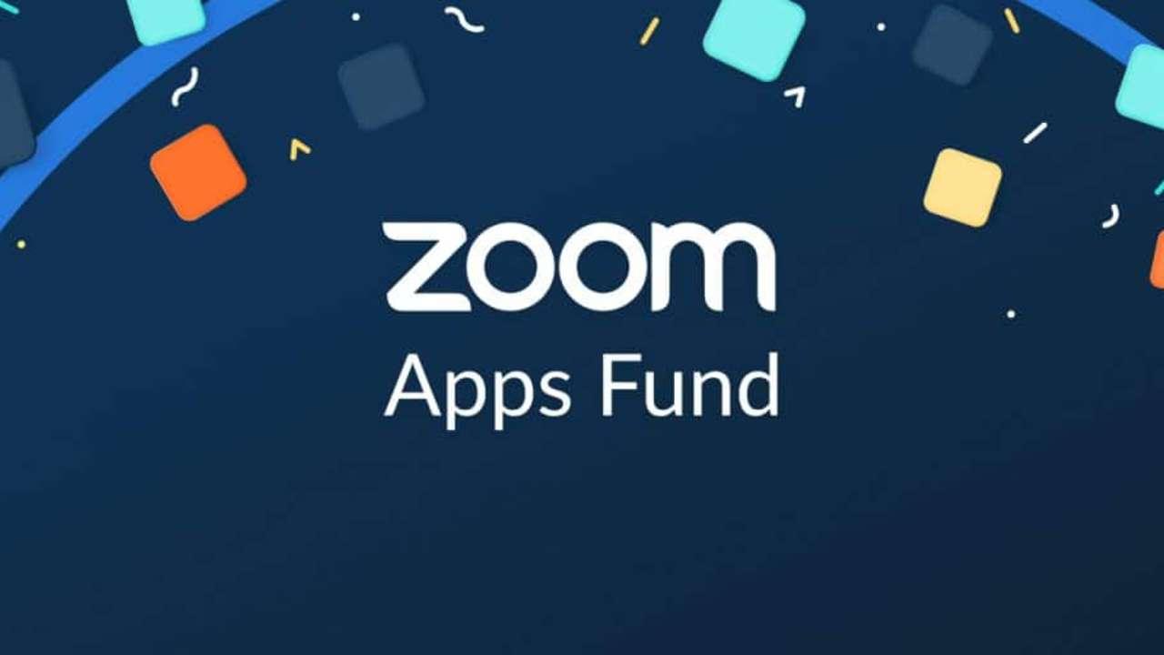 Logo azul com confete do Zoom Apps Fund