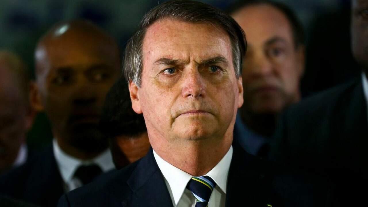 O presidente Jair Bolsonaro em pronunciamento em coletiva de imprensa