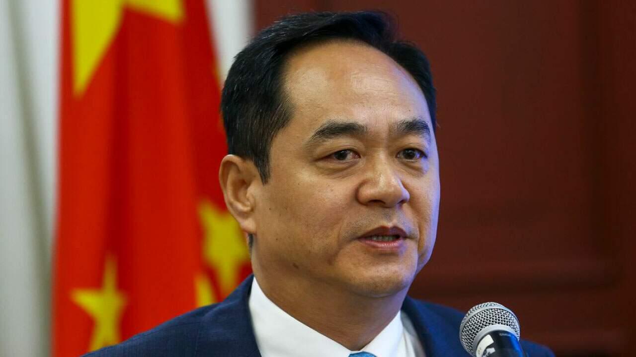 O embaixador da China no Brasil, Yang Wanming, em pronunciamento;