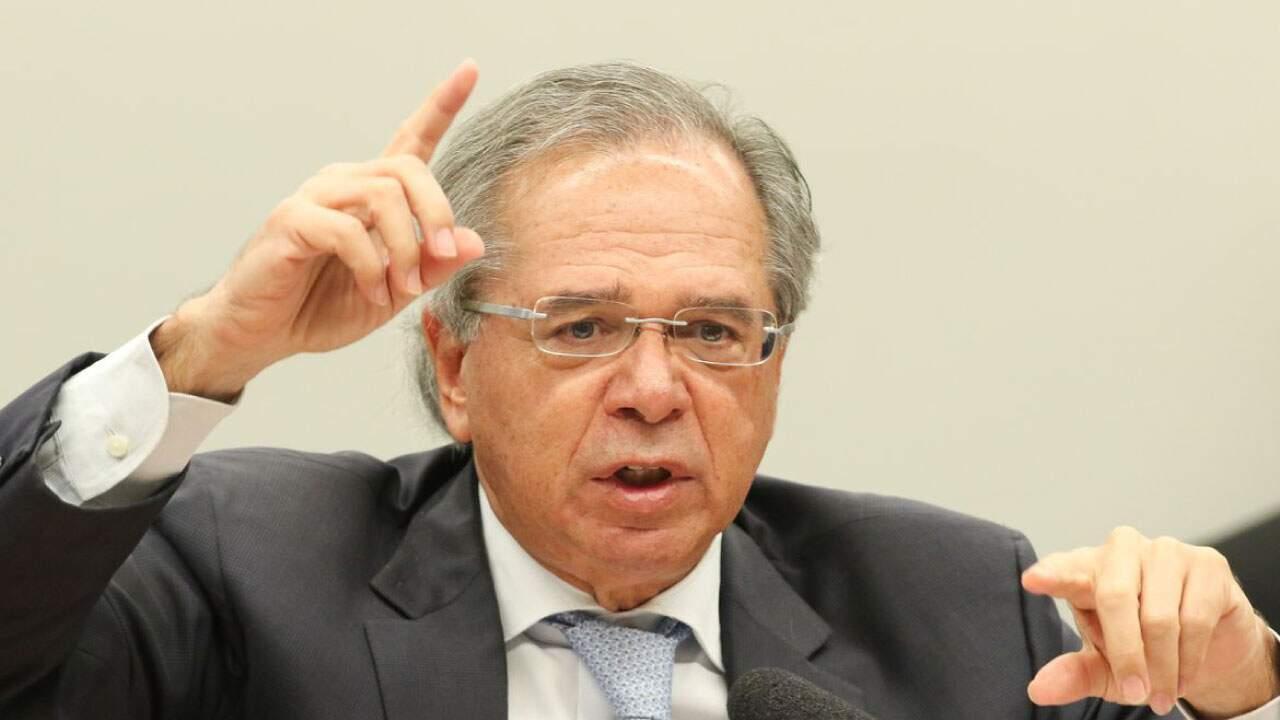 O Ministro da Economia, Paulo Guedes, em pronunciamento