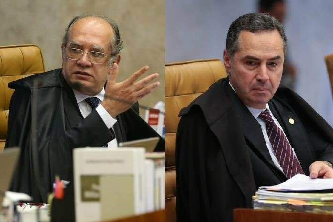 Ministros do STF: Gilmar Mendes e Barroso em sessão da Corte