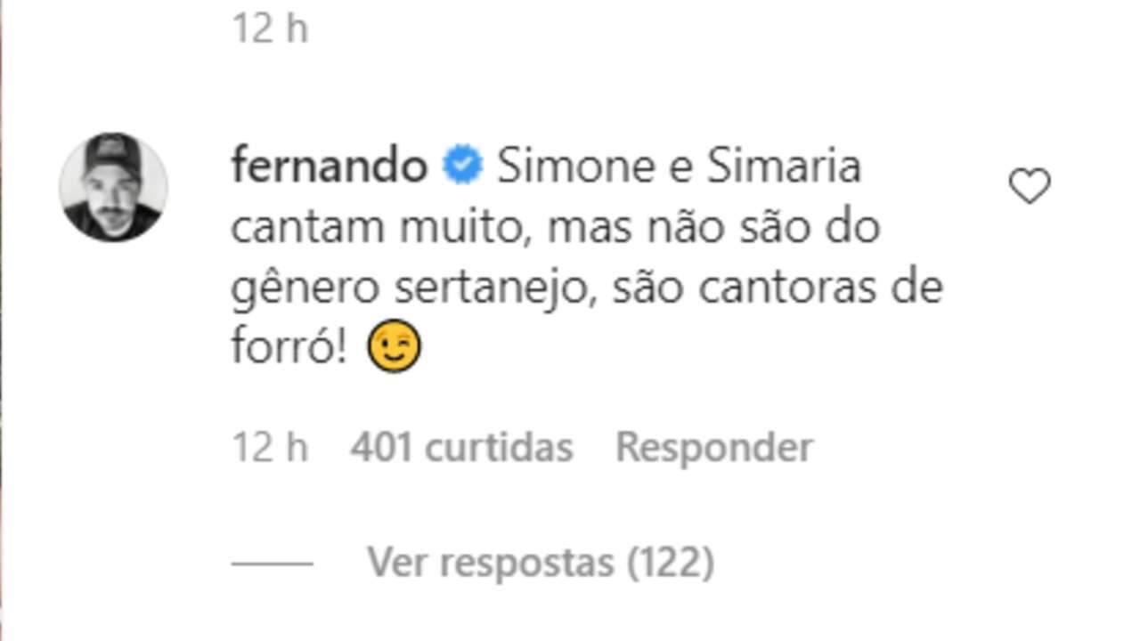 Fernando, da dupla com Sorocaba, afirma que Simone e Simaria cantam forró