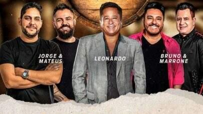 """Leonardo anuncia live com Jorge e Mateus e Bruno e Marrone contando com atração surpresa: """"Preparados?"""""""