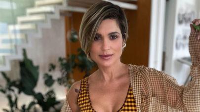 Flávia Alessandra divulga ensaio com vestido deslumbrante e boa forma choca a web